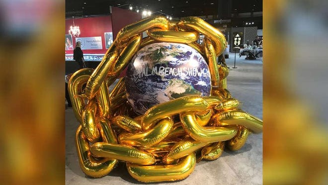 An installation of work by the artist known as Baloonski is on view at the Palm Beach Show through Monday at the Palm Beach County Convention Center in West Palm Beach.