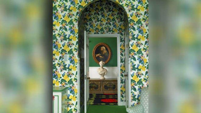 Decorated by Dorothy Draper & Co., green was used liberally in this guest room at The Grand Hotel in Upper Michigan.