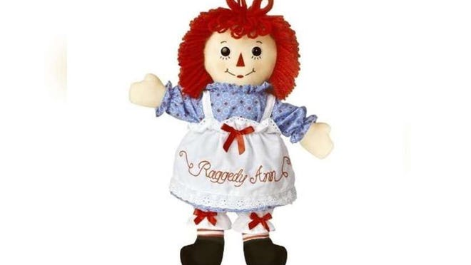 With her signature smile and red-yarn hair, this iconic Raggedy Ann doll is manufactured by Aurora World Inc. and available online.