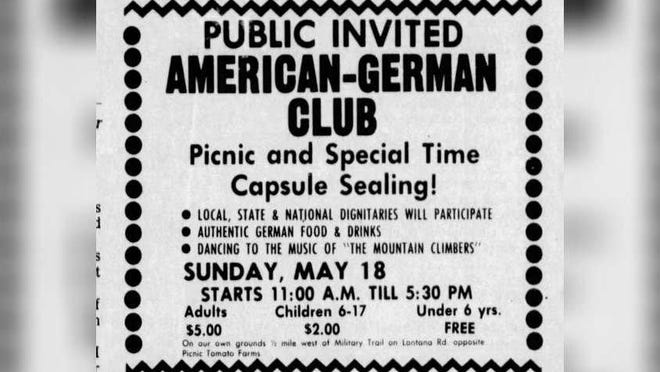 An ad in the May 17, 1975, Palm Beach Post for the next day's time capsule event at the American-German Club, west of Lantana.