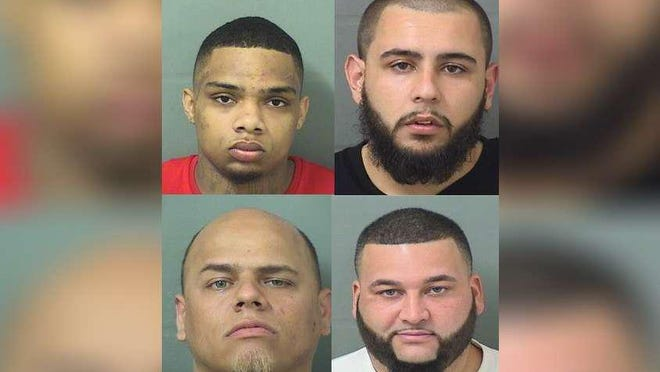 Anthony Powell, top left; Joseph Thomas Diaz, top right; Jonathan Arbona, bottom left; and Hipolito Jesus Fraguela, bottom right, are charged in a February 2020 attack of another inmate in the Palm Beach County Jail.