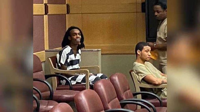 Jamell Demons, YNW Melly, of Gifford, appeared in a Broward County courtroom for his March 12, 2020, status hearing in his capital murder trial charged in the shooting deaths of Anthony Williams and Christopher Thomas Jr. on Oct. 26, 2018.  [CONTRIBUTED PHOTOS FROM JOHN PHILLIPS)