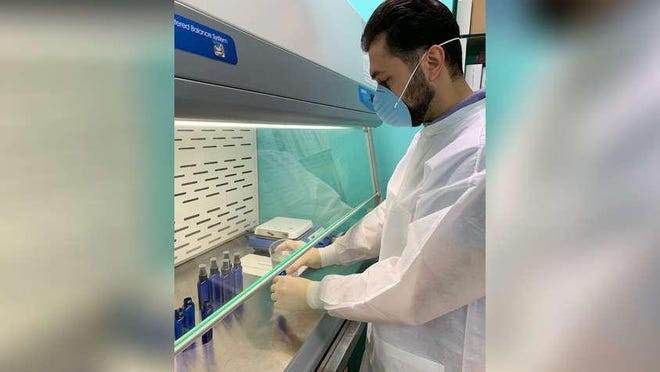 Because of the rising demand for hand sanitizer during the coronavirus crisis, pharmacist Nawaf Alkhafaji at A&R Pharmacy in North Palm Beach decided to make his own.