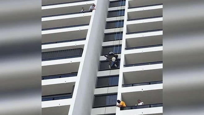 On July 13, 2020, Fire-Rescue crews from North Palm Beach, Palm Beach Gardens and Palm Beach County helped rescue a window washer whose harness had come loose 15 stories up at a North Palm Beach condo.