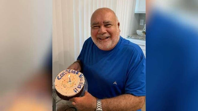 Richard Yodice receives a cake from friends in August 2019 after completing radiation for cancer caused by his work at Ground Zero after the terrorist attacks of 9-11. Now, at higher risk for COVID-19, he implores people to wear masks to protect themselves and others like him.