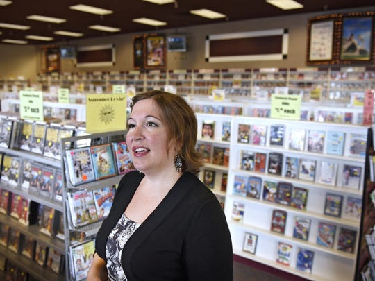Coborn's spokesperson Rebecca Kurowski talks about the future of video stores on July 15 at Cash Wise Video in Waite Park.