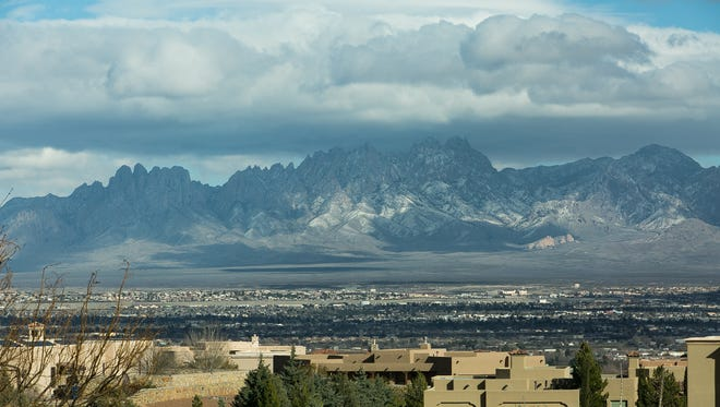 A passing cold front Monday left a dusting of snow on the Organ Mountains.