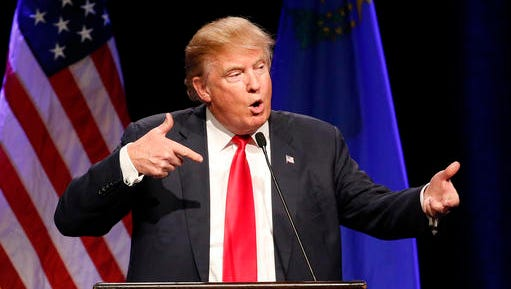 FILE - In this Dec. 14, 2015 file photo, Republican presidential candidate Donald Trump speaks about Army Sgt. Bowe Bergdahl at a rally in Las Vegas.  Trump's scathing criticism of Bergdahl will prevent the soldier from getting a fair trial on charges he endangered comrades by walking off his post in Afghanistan, Bergdahl's attorneys said Friday, Jan. 20, 2017. In a motion filed shortly after Trump was sworn in, defense lawyers asked a military judge to dismiss the charges against Bergdahl and argued the Republican violated his due process rights and military law against unlawful command influence. (AP Photo/John Locher)