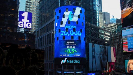This photo provided by Nasdaq shows Nasdaq Tower in New York's Times Square, as the display shows that the Dow Jones industrial average crossed the 20,000 mark for the first time, Wednesday, Jan. 25, 2017.