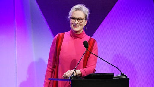 Actress Meryl Streep accepts the Distinguished Collaborator Award during the 19th Annual Costume Designers Guild Awards on Tuesday, Feb. 21, 2017, in Beverly Hills, Calif.