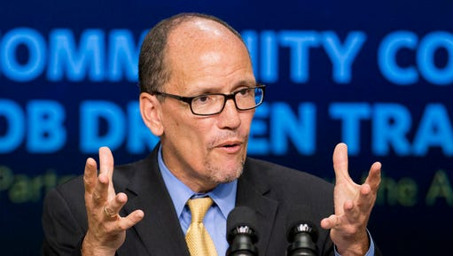 FILE - In this Sept. 29, 2014 file photo, then-Labor Secretary Tom Perez speaks in the South Court Auditorium in the White House compound in Washington. National Democrats will elect a new chair whose task is to steady a reeling party and capitalize on the widespread opposition to Republican President Donald Trump. Leading contenders in the Saturday, Feb. 25, 2017, vote are Perez and Minnesota Rep. Keith Ellison. (AP Photo/Manuel Balce Ceneta, File)