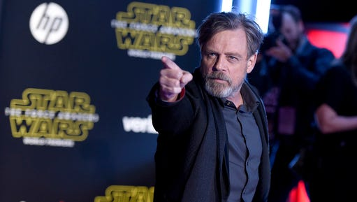 """FILE - In this Dec. 14, 2015, file photo, Mark Hamill arrives at the world premiere of """"Star Wars: The Force Awakens"""" at the TCL Chinese Theatre in Los Angeles. """"Force Awakens"""" director J.J. Abrams told the New York Daily News on Feb. 25, 2017, that """"we are all going to be very upset"""" if Hamill doesn't win an Oscar for his role as Luke Skywalker in the upcoming """"The Last Jedi."""""""