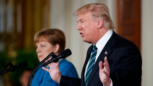 President Donald Trump speaks during a news conference with German Chancellor Angela Merkel in the East Room of the White House in Washington, Friday, March 17, 2017.