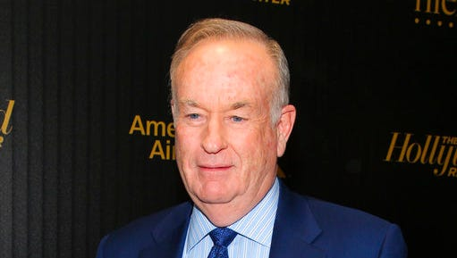 "FILE - In this April 6, 2016, file photo, Bill O'Reilly attends The Hollywood Reporter's ""35 Most Powerful People in Media"" celebration in New York. Through three days of O'Reilly's vacation, his show's viewership declined by 26 percent in the hands of substitutes Dana Perino, Eric Bolling and Greg Gutfeld. He is on a nearly two-week vacation at the same time Fox News Channel's parent company looks into a woman's accusation that her career was slowed when she spurned his advances."