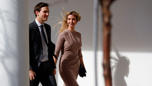 FILE - In this Friday, Feb. 10, 2017, file photo, Ivanka Trump, right, walks with her husband, Jared Kushner, senior adviser to the president, to a news conference with President Donald Trump and Japanese Prime Minister Shinzo Abe, at the White House in Washington. Ivanka Trump's company continues to grow. Ethics lawyers fear the more her business expands, the more it may encroach on her ability, and husband, Jared Kushner, to credibly advise the president on core issues.