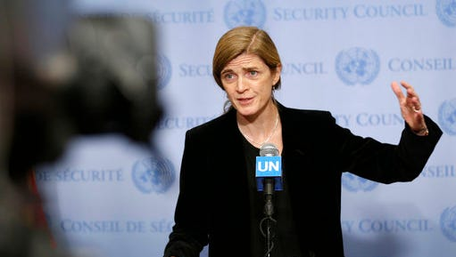 """FILE - In this Monday, Dec. 19, 2016, file photo, United States Ambassador to the United Nations Samantha Power speaks to reporters after a Security Council meeting at U.N. headquarters. Power is writing a memoir about her transition from Pulitzer Prize-winning critic of foreign policy to a leading government official. Dey Street Books, an imprint of HarperCollins Publishing, told The Associated Press on Tuesday, April 25, 2017, that it had acquired Power's """"The Education of an Idealist."""""""
