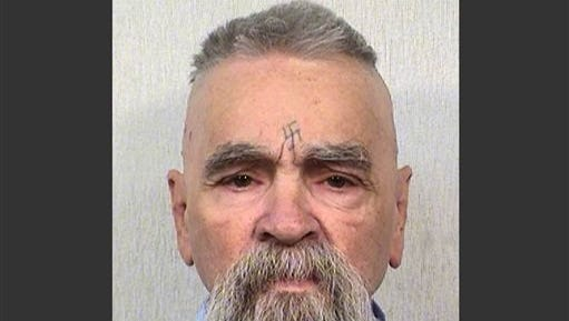 """This Oct. 8, 2014 photo provided by the California Department of Corrections shows 80-year-old serial killer Charles Manson. A marriage license has been issued for Manson to wed 26-year-old Afton Elaine Burton, who left her Midwestern home nine years ago and moved to Corcoran, California to be near him. Burton, who goes by the name """"Star,"""" told the AP that she and Manson will be married next month. (AP Photos/California Department of Corrections)"""