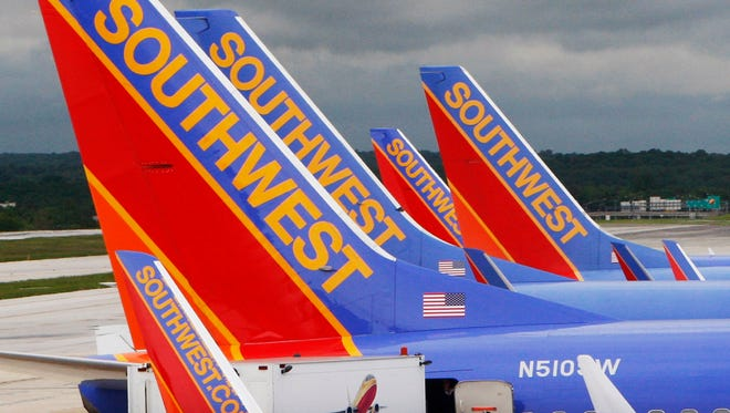 In this file photo taken May 16, 2008, Southwest Airlines jets are seen at Baltimore/Washington International Airport.