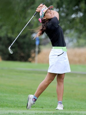 Clear Fork's Hannah McCartney hits off the tee during Tuesday's Division II sectional golf tournament at Valley View.