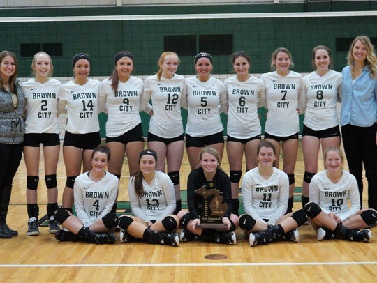 The Brown City High School volleyball team is celebrating
