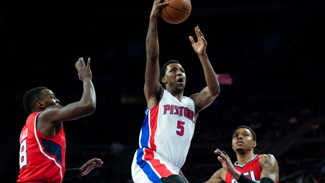 Detroit Pistons guard Kentavious Caldwell-Pope (5) goes to the basket against the Atlanta Hawks during the second quarter at The Palace of Auburn Hills.