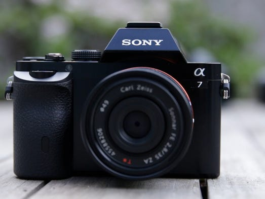 The Sony A7 camera has a full-frame image sensor in a small compact body and sells for $1,699 without a lens.