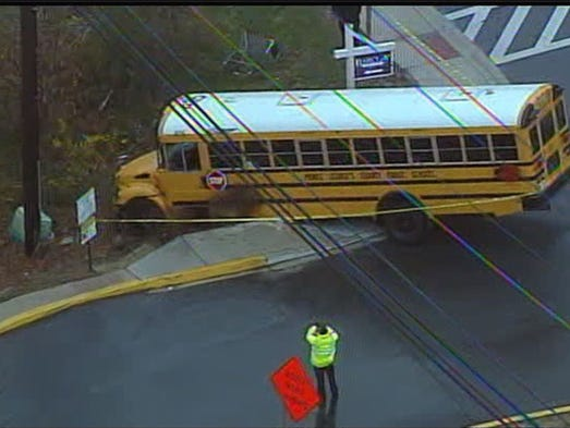 Five students have been transported to hospitals after a collision involving a bus near a high school in Beltsville.