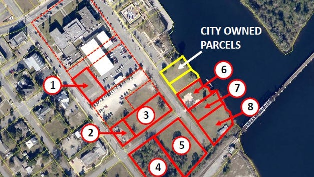 This map from architect HOK shows potential land acquisitions needed to build a new judicial facility in downtown Milton, which would be constructed behind the existing courthouse. HOK will present several designs to the Santa Rosa County Commission and the public during a special workshop May 5.