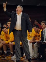 Salisbury head coach Andy Sachs calls out to his team