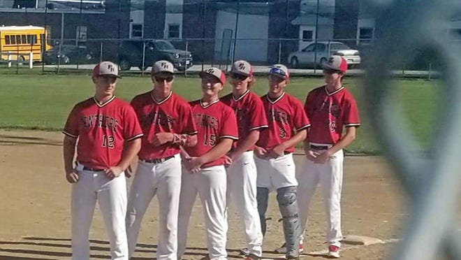 The Praire Home Baseball team, which includes players from the Bunceton School District, celebrated Senior Night on Aug. 28 in a game against St. Elizbeth. Senior team members, from left, are Hunter Shuffield, Dillon Alpers, Talon Benne, Blane Petsel, Jason Burnett, and Ryan Small.