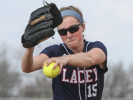 Toms River,   NJ     Lacey at Toms River HS North girls softball:Lacey Pitcher Chelsea Howard.041715  Photo: Tom Spader