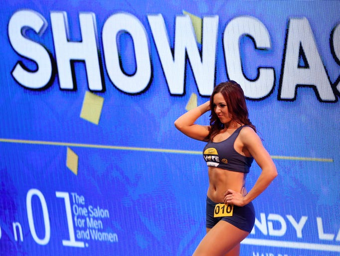 Jordan takes the stage during the 2014-15 Indiana Pacemates Showcase inside Bankers Life Fieldhouse, on Wednesday, August 20, 2014, in Indianapolis.