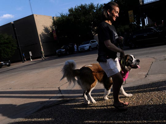 Rosanna Day pauses at the corner of Cypress and North Second streets with her 2-year-old St. Bernard, Piper, on Thursday, Aug. 10, 2017, during ArtWalk.