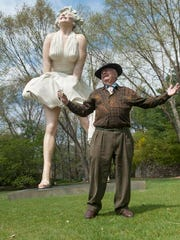 "J. Seward Johnson II celebrating the unveiling of his ""Forever Marilyn"" sculpture at the Grounds for Sculpture in Hamilton. The 89-year-old died on March 10 at his home in Key West."