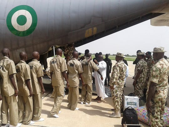 Surrendered Boko Haram Islamic militants are loaded