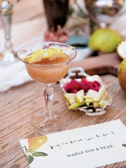 A Maple Gin and Pear Fizz created by Meg Low Nobile of Fresh & Fancy Farms in New Milford for the pear-fect engagement party theme, created for (201) Bride magazine.