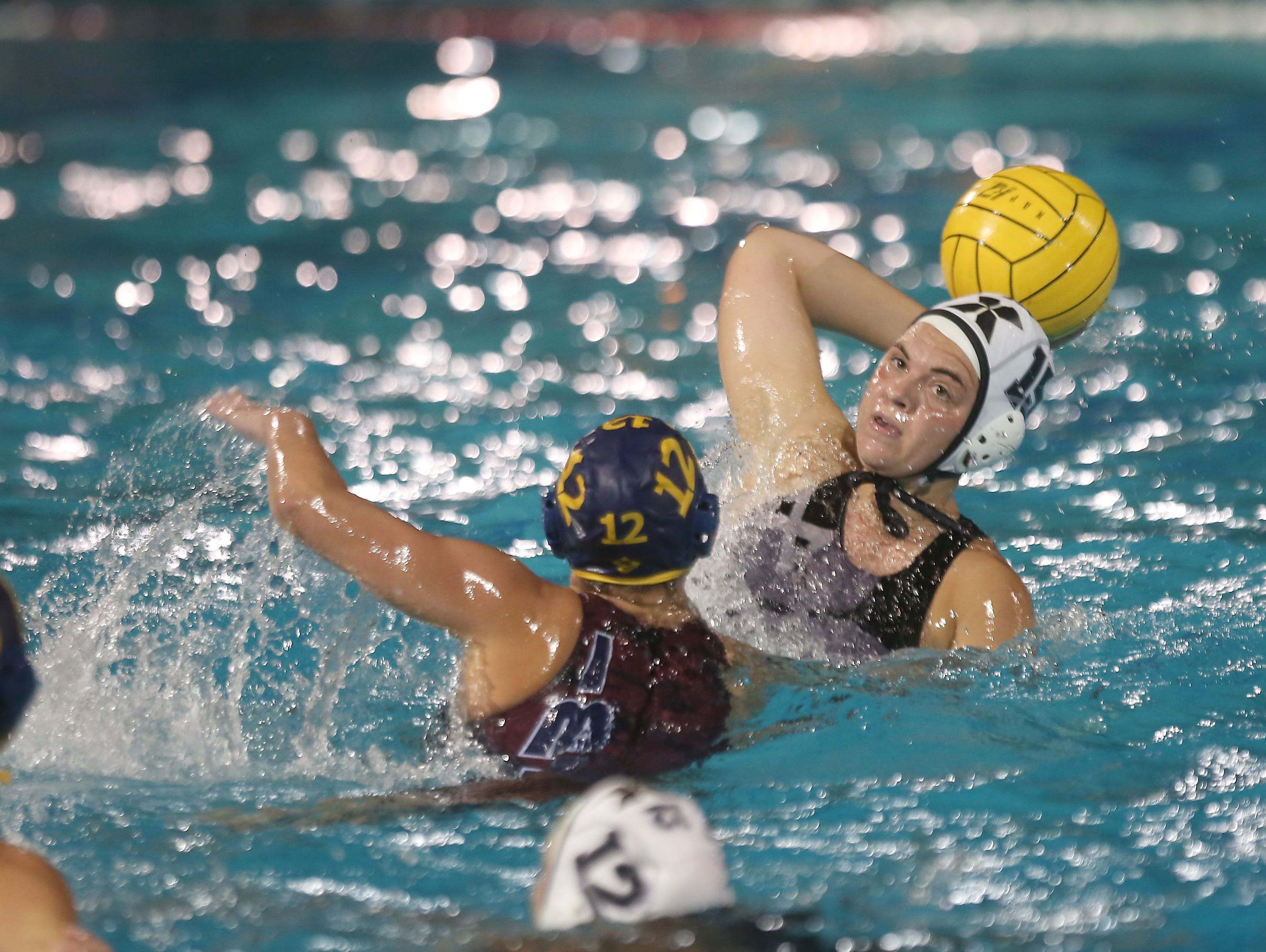 Blair Burlilngame of Xavier takes a shot against La Quinta in water polo, February 8, 2016.