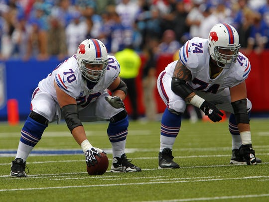 Eric Wood (70) played nine years for the Bills and