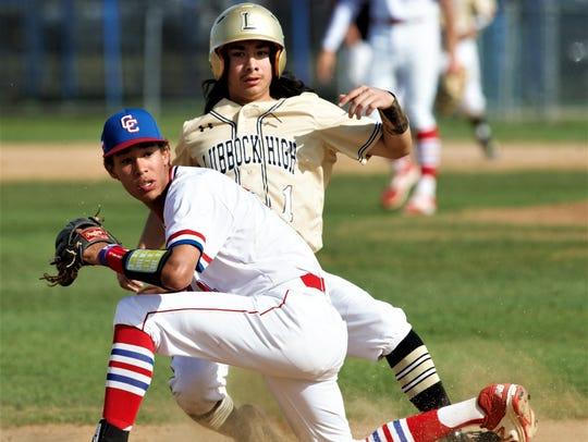 Cooper third baseman Shaun Watson and Lubbock High's