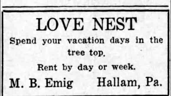 Besides all the free publicity from the United Press article, this is the type of advertising that Morgan Emig did to keep the Love Nest filled.