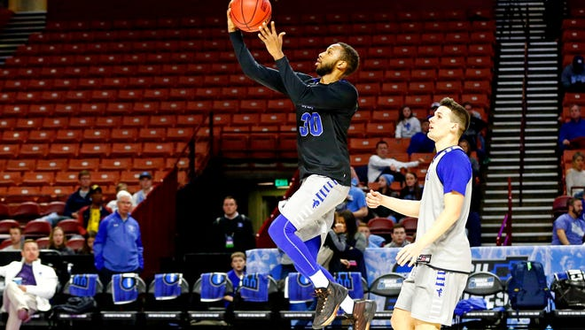 Seton Hall Pirates guard Madison Jones (30) shoots the ball during practice for the first round of the 2017 NCAA Tournament at Bon Secours Wellness Arena.