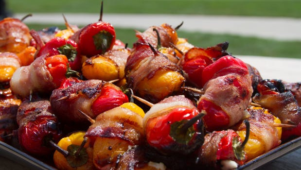 Mini sweet pepper poppers.