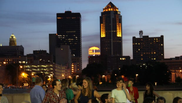 The Des Moines skyline view at the Summer Accidental Industry Fashion Show held at Brenton Skating Plaza.