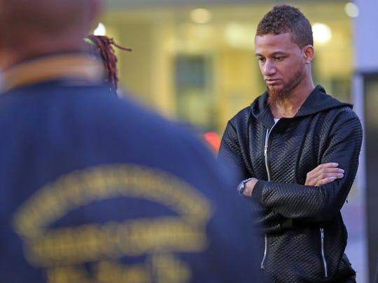 Vaughn Campbell attends a vigil in White Plains on