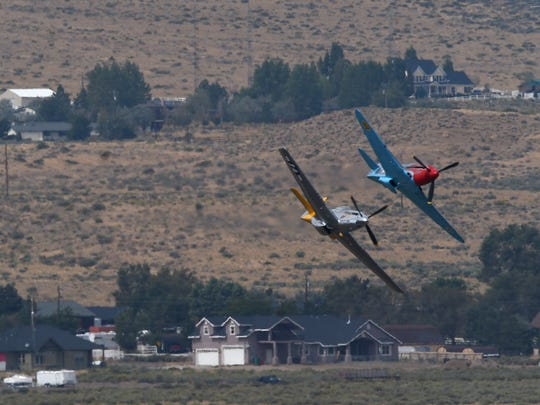 Racers compete during the Reno National Championship Air Races at the Reno-Stead Airport on Sept. 16, 2017. Jason Bean/Reno Gazette-Journal- USA TODAY NETWORK