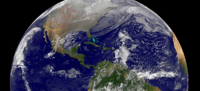 This Dec. 25 NASA GOES Project satellite image shows a view of the Western Hemisphere of the Earth on Christmas morning.