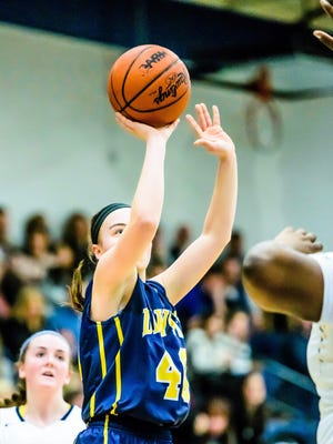 Madison Petersen of DeWitt sinks a jump shot during the Panthers' game with Haslett Friday February 17, 2017 in Haslett.