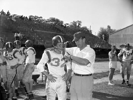 Leon High spring football practice in 1957, see with
