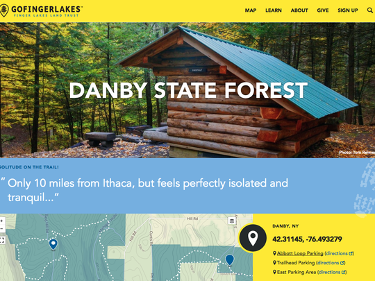 A screenshot from the new Go Finger Lakes website for finding hiking, biking, paddling and other outdoor adventures in the Finger Lakes region.