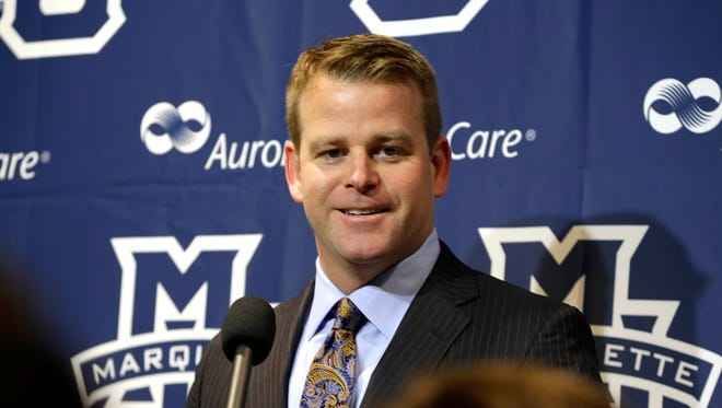 Marquette Men's head basketball coach Steve Wojciechowski speaks with the media.